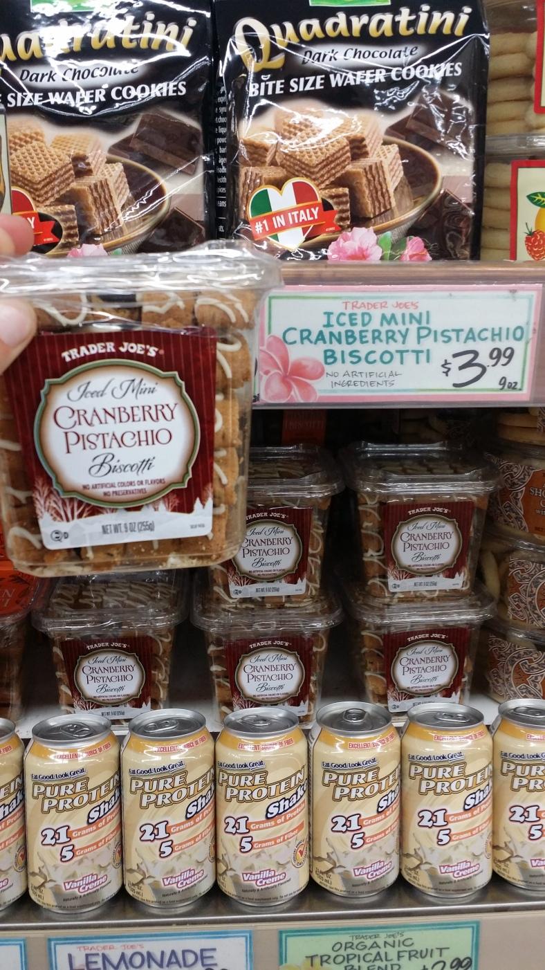 Trader Joe's Iced Mini Cranberry Pistachio Biscottis